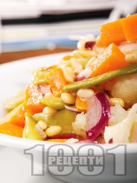 Вегетарианска салата с карфиол, тиква и зелен фасул - снимка на рецептата